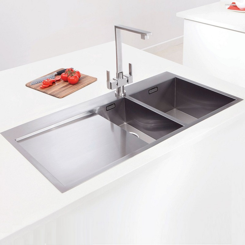 kitchen sink inset caple cubit 150 one and a half bowl stainless steel inset 2752
